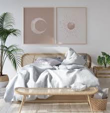 sun and moon print boho decor set of 2 mid century
