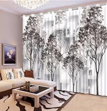 schwarz und weiß baum blackout 3d vorhang wohnzimmer schlafzimmer vorhänge dekoration pastoralen stil gardinen