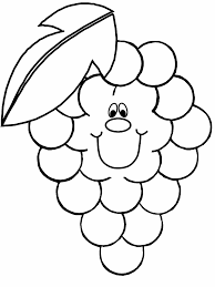 Smiley Grapes Coloring Pages For Kids 225x300