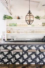 For A While I Thought Wanted To Do Really Bold Graphic Encaustic Tile Behind The Stove Love Black And White Cement Tiles Like In This LA Eatery