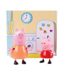 planet superheroes pvc peppa pig kitchen with peppa and mamma pig figures multicolour