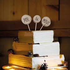 Rustic Wedding Table Decoration Wooden Cake Topper Mr Mrs Log Marriage Anniversary Party Supply Centerpiece