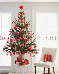 A Small Sized Christmas Tree With Red Ornaments
