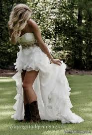 High Low Wedding Dresses With Cowgirl Boots
