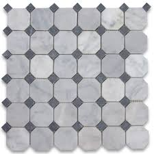 carrara white 2 inch octagon mosaic tile w black dots tumbled