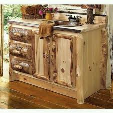 Charming Rustic Style Bathroom Vanities And Wonderful Combined With Mirror