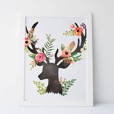 Printable Art Floral Elegant Deer Wall