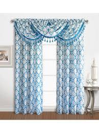 Blue Crushed Voile Curtains by Sanders Rod Pocket Panel Waterfall Valance W Fringe U2013 Marburn
