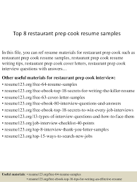 Top 8 Restaurant Prep Cook Resume Samples In This File You Can Ref Materials