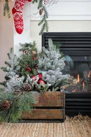 Christmas Tree Branches Beside A Fireplace