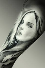 Angel Woman Face Realistic Black Grey Arm