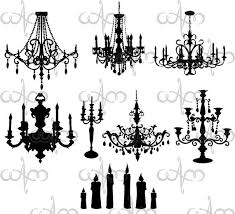 Baroque Chandeliers Clip Art Graphic Design Pattern For Your Projects