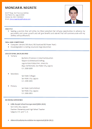 Formal Resume Example 5