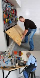 folding wall mounted workbench by bench solution saves valuable