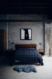 Dark Bedroom Decor With Modern Design Also Backdrop Brick Walls And Corner Branches Accessories Picture Wall Fram Wooden Platform Bed