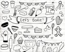 Baking Clipart 17 Hand Drawn Baking Baking Logo Art Baking Logo Elements