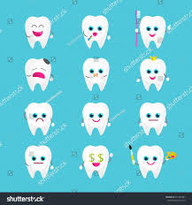 Laughing Emoji Clipart Black And White Luxury Funny Tooth Stickers Set Twelve Stock Vector Royalty