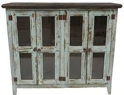 Antique Turquoise Curio Cabinet Four Door Antique Turquoise Curi