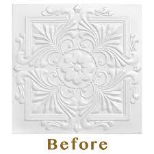 Styrofoam Direct Glue Up Ceiling Tile by Tile
