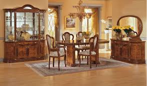 Modern Dining Room Sets With China Cabinet by Walnut High Gloss Finish Classic Dining Room W Floral Inlays