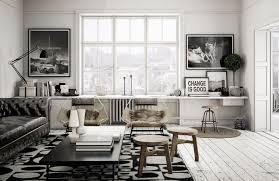 Black Leather Couch Living Room Ideas by Living Room Painted Wood Flooring Also Cool Wooden Benches Plus