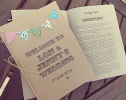 Order Of Service Booklets With Insert Pages Country Cottage Bunting Rustic Wedding