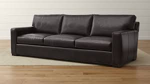 axis ii brown leather 3 seat sofa crate and barrel