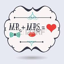 Abstract Conceptual Mr Plus Mrs Equals Red Heart Icons On Blue Background