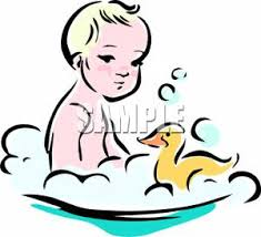 take clipart Baby Taking a Bath with a Rubber Duck Royalty Free Clipart Picture