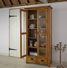 Original Rustic Solid Oak Glass Front Display Cabinet