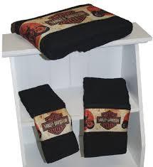harley davidson 3 piece towel bath set retro bike dye harley