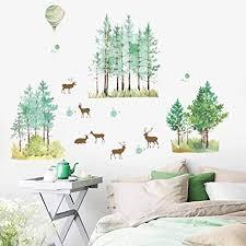 wandsticker4u xl aquarell wandtattoo rehe bäume i wandbilder 140x100 cm i wandsticker wald tiere ballon dschungel aufkleber i wand deko für