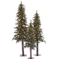 3 Piece Green Pine Trees Artificial Christmas Tree Set With 500 Clear Lights Stand