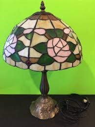 Tiffany Style Lamps Vintage by Vintage Tiffany Style Lamp Shade Bronzed Metal Base Collectable