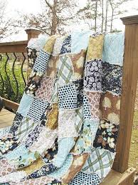 Rag Modern Meadow Navy Light Blue Brown Patchwork ALL NATURAL Fresh Handmade Tags Quilts Bed King Bedding Blanket Bedroom Decor