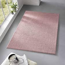 taracarpet teppich kurzflor weicher designer uni bodenbelag madrid fürs wohnzimmer kinderzimmer schlafzimmer und die küche geeignet rosa 120x170 cm