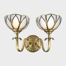 polished brass wall lights 2 light glass shade uplight