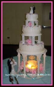 Fountain Wedding Cake With Clear Columns & Steps