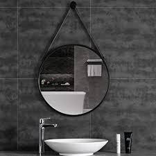 fkdena wandspiegel rund schwarz wandspiegel runde mit straps metallrahmen dekorativer spiegel for wohnzimmer schlafzimmer badezimmer 60cm