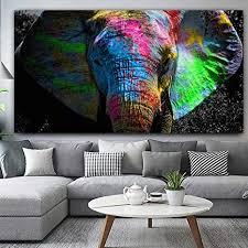 yuanomwj malerei auf leinwand bunte afrikanische elefanten tier leinwand malerei wandkunst poster drucke kein rahmen bilder wohnzimmer