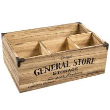 4 Compartment Vintage Wooden Crate Storage Box Milk Bottle Cutlery Holder Caddy