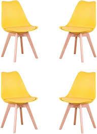4er set stühle esszimmerstuhl stuhl im nordischen stil geeignet für wohnzimmer esszimmer weiß gelb 4er set