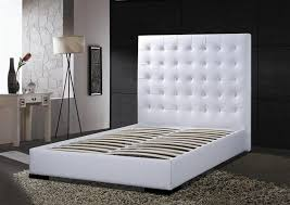 Black Leather Headboard King by King Size Bed In White Faux Leather With Chrome Legs Regard To