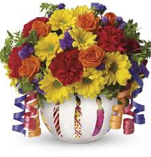 Teleflora Celebration Bowl flower bouquet for birthday