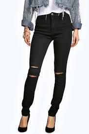 high rise ripped knee tube jean black fashiontodiefor pinterest