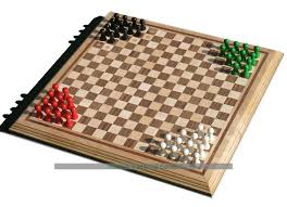 Hand Made Halma Board With Wooden Pawns And Rules