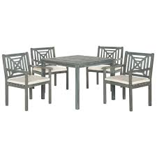 5 Piece Bar Height Patio Dining Set by Safavieh Del Mar Ash Gray 5 Piece Patio Dining Set With Beige
