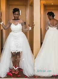 H0942 Sexy Sheer Bateau Neck Long Sleeved High Low Wedding Dress
