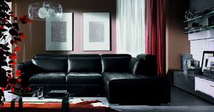 Red Sofa Living Room Ideas by Black Leather Sofa Living Room Design