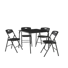 Cosco 5-Piece Black Portable Folding Card Table Set 7 Best Folding Card Tables 2017 Chair Long Table And Padded Chairs Cosco 5 Piece Set 5pc Xl Series And Ultra Thick Black White Plastic Large Black Card Table Sim Smatch Wikipedia 1950s Four Kids Colorful Vintage Metal Of 2 Brown Creme Vinyl Retro Mid Century Extra Seating Kitchen Ding Fniture Charming Pretty Wood